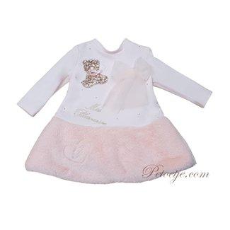 MISS BLUMARINE  Girls Pink Faux Fur Dress