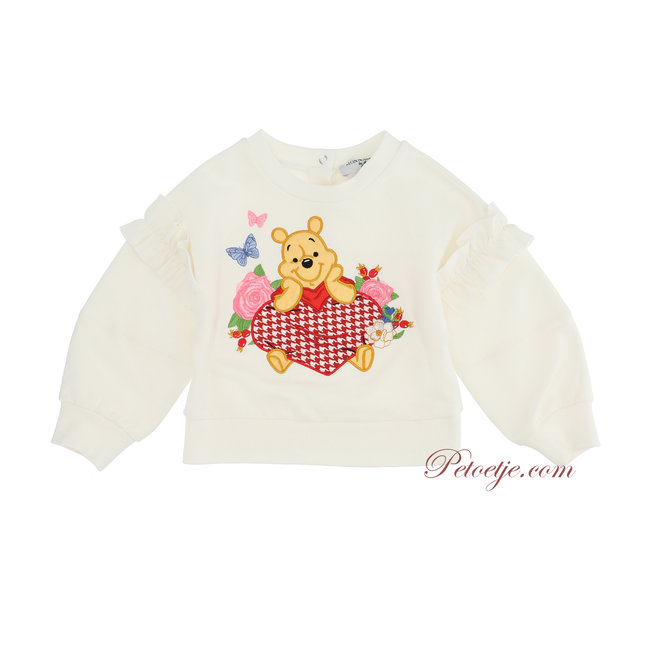 MONNALISA Girls Ivory Disney Ruffle Sweater