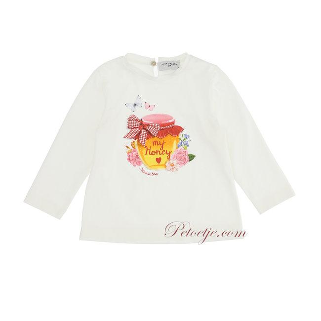 MONNALISA Baby Girls Ivory Cotton Honey T-Shirt