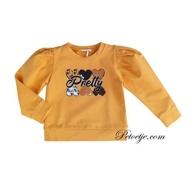 LIU JO Girls Mustard Yellow Cotton Sweater