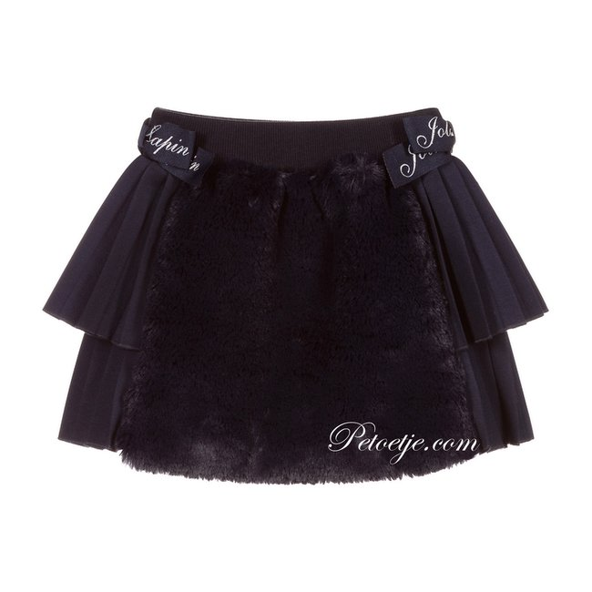 LAPIN HOUSE Girls Navy Blue Faux Fur Pleated Skirt