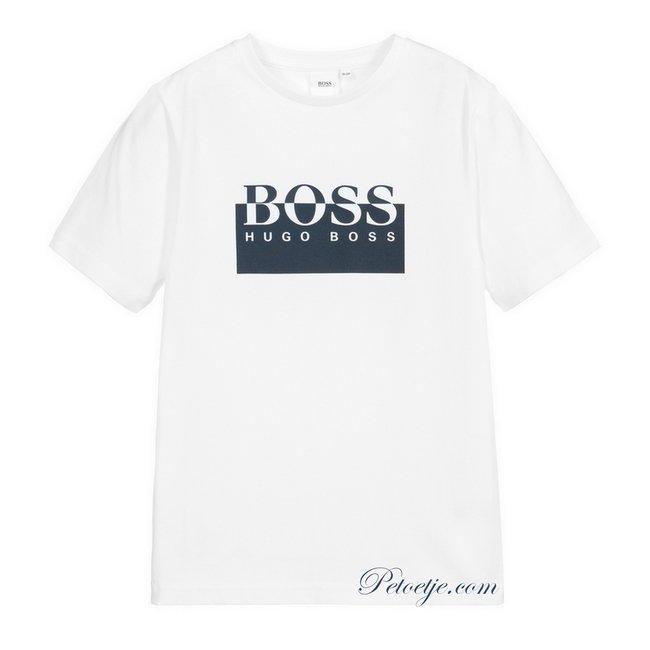 HUGO BOSS Kidswear  Boys White Cotton Logo Top