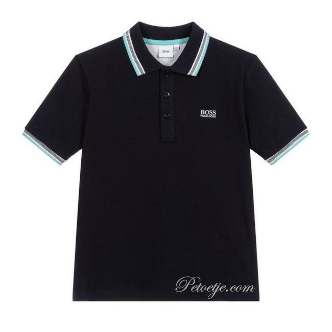HUGO BOSS Kidswear  Blue Cotton Piqué Polo Shirt