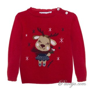 PATACHOU Girls Red Reindeer Knitted Sweater
