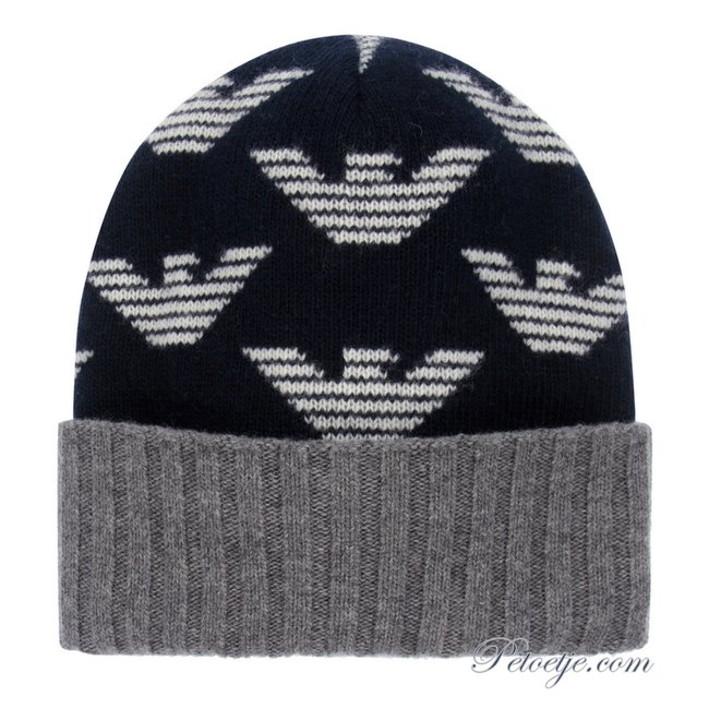 EMPORIO ARMANI Navy Blue Wool Logo Hat