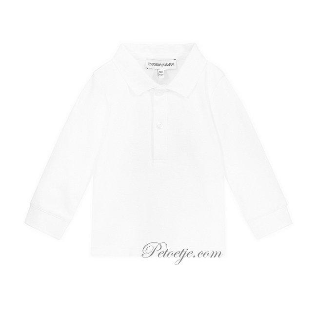EMPORIO ARMANI Boys White Cotton Polo Shirt - Woven Logo Collar