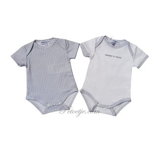 EMPORIO ARMANI Blauw & Witte Logo Rompers Gift Set