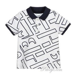 HUGO BOSS Kidswear  Wit & Blauwe Logo Polo Shirt