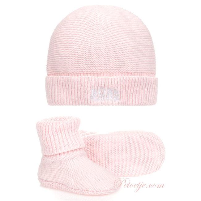HUGO BOSS Kidswear  Baby Pink Hat & Booties - Gift Set