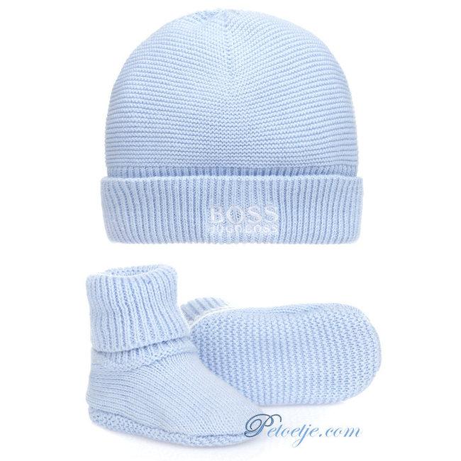 HUGO BOSS Kidswear  Baby Blue Hat & Booties - Gift Set