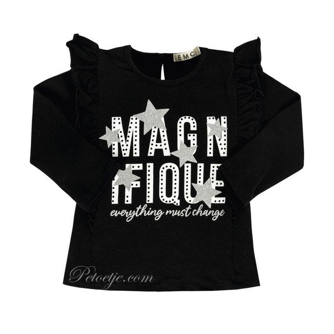 EMC  Meisjes Zwarte T-Shirt - Magnifique