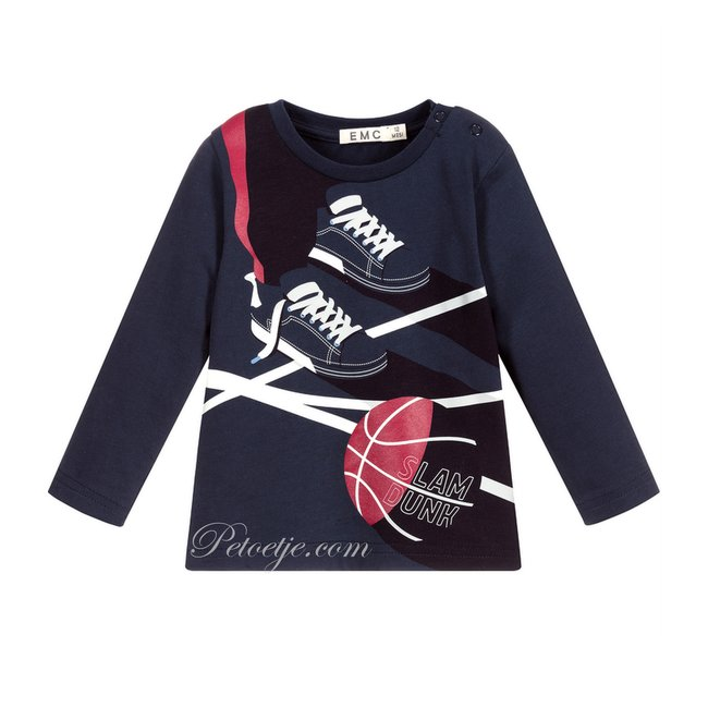 EMC Jongens Blauwe Basketbal T-Shirt