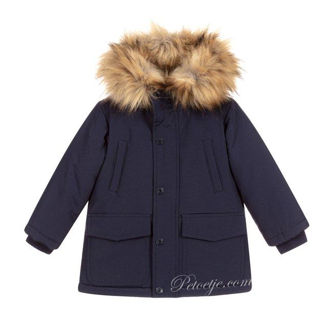 EMC Navy Blue Faux Fur Trim Coat