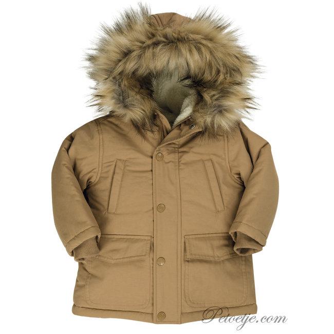 EMC Boys Beige Faux Fur Trim Coat