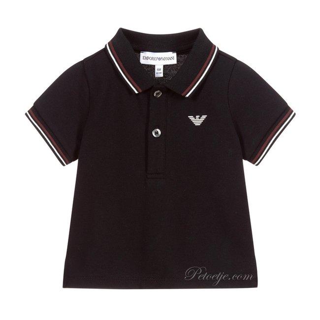 EMPORIO ARMANI Boys Navy Blue Logo Polo Shirt