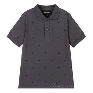 EMPORIO ARMANI Grey Cotton Piqué Polo Shirt