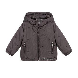 EMPORIO ARMANI Boys Grey Logo Hooded Jacket