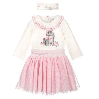MONNALISA Baby Wit & Roze Rok Set