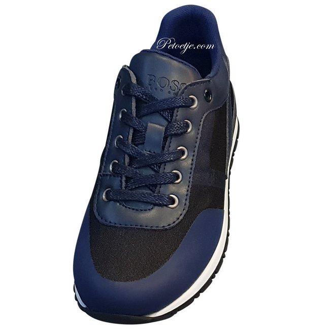 HUGO BOSS Kidswear  Boys Navy Blue & Black Logo Trainers