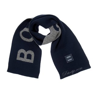HUGO BOSS Kidswear  Blue & Grey Cotton Logo Scarf