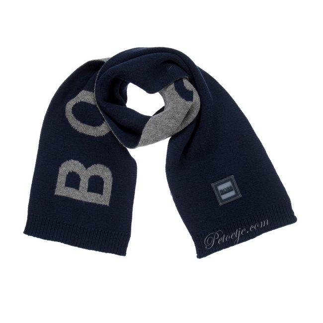 HUGO BOSS Kidswear  Jongens Blauw & Grijze Logo Sjaal