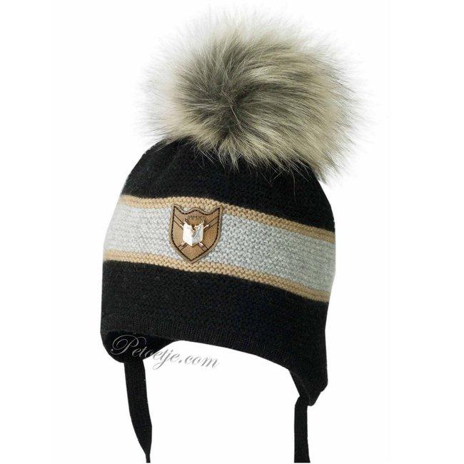 JAMIKS Boys Black & Grey Knitted Wool Pom-Pom Hat