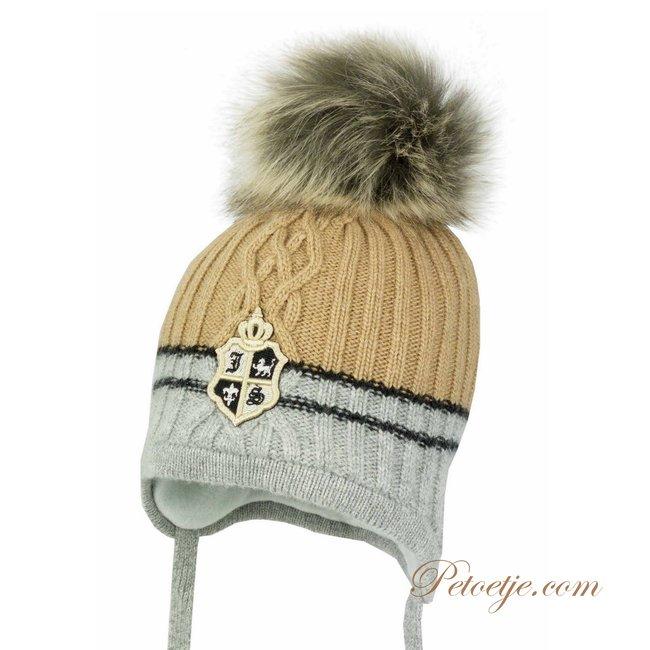 JAMIKS Boys Beige & Grey Wool Pom-Pom Hat