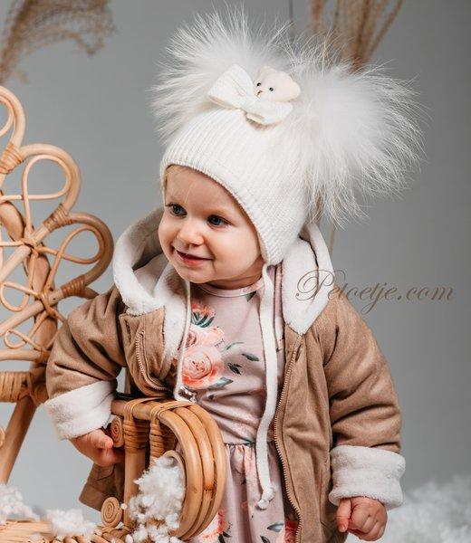 Baby Girls Ivory Wool Pom-Pom Hat