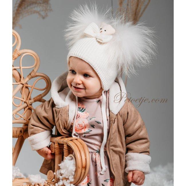 JAMIKS Baby Girls Ivory Knitted Wool Pom-Pom Hat - Bear