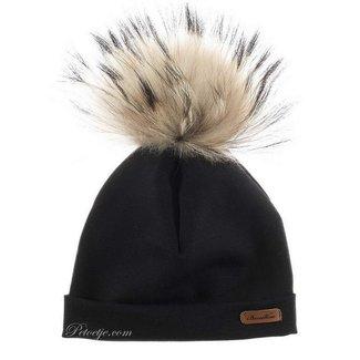 BARCELLINO Black Fur Pom-Pom Hat
