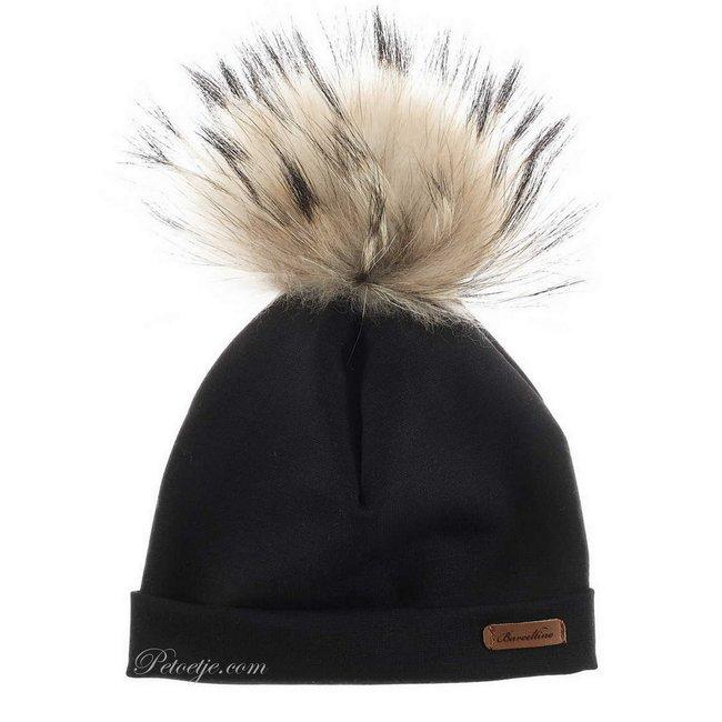 BARCELLINO Boys Black Fur Pom-Pom Hat