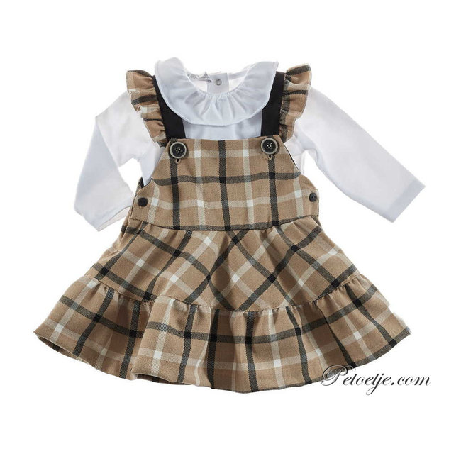 BARCELLINO Baby Girls White Romper & Beige Check Dress Set