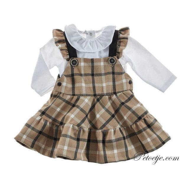 BARCELLINO Beige Check Pinafore Dress Set