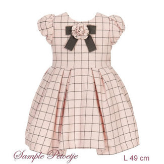 BALLOON CHIC Pink and grey checkered dress
