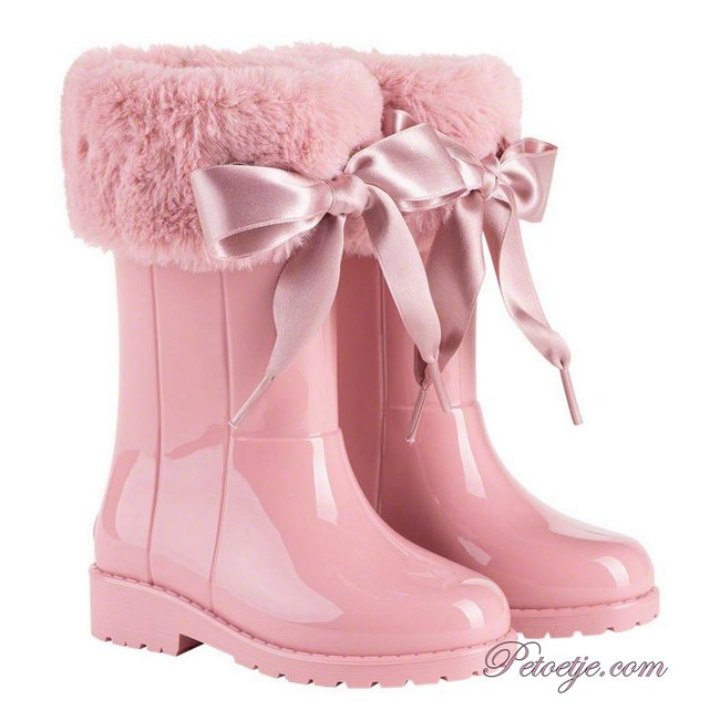 IGOR  Campera Charol Pink Soft Fur Cuff Ribbon Tie Rain Boots