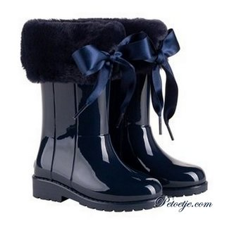 IGOR  Campera Navy Blue Soft Fur Cuff Ribbon Tie Rain Boots