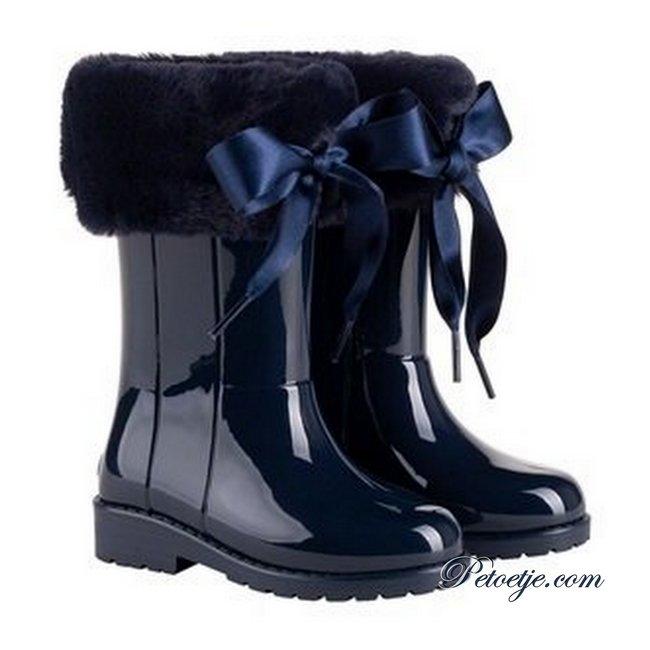 IGOR  Campera Charol Navy Blue Soft Fur Cuff Ribbon Tie Rain Boots
