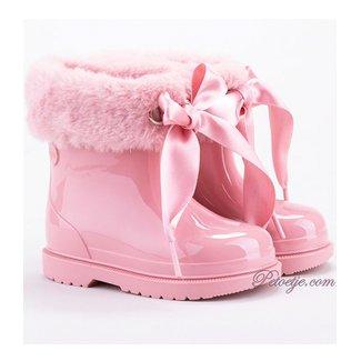 IGOR  Bimbi Pink Soft Fur Cuff Ribbon Tie Rain Boots