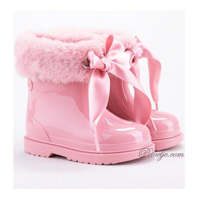 IGOR  Girls Pink Soft Faux Fur Cuff Ribbon Tie Rain Boots