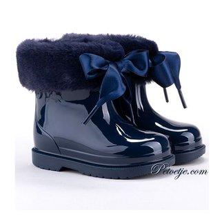 IGOR  Bimbi Blue Soft Fur Cuff Ribbon Tie Rain Boots