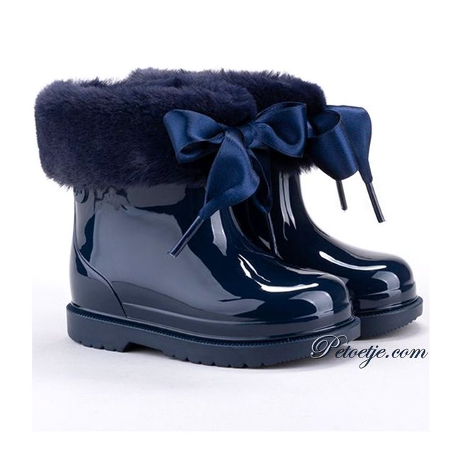 IGOR  Girls Navy Blue Soft Faux Fur Cuff Ribbon Tie Rain Boots
