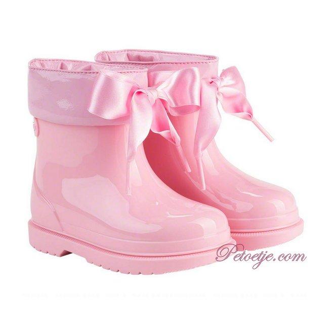 IGOR  Bimbi Lazo Pink Rain Boots With Ribbon Tie