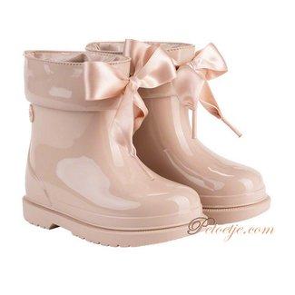 IGOR  Bimbi Lazo Beige Rain Boots With Ribbon Tie
