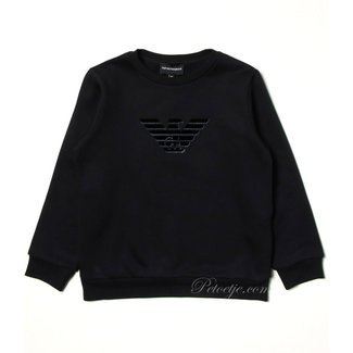 EMPORIO ARMANI Boys Navy Blue Cotton Sweatshirt