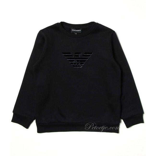 EMPORIO ARMANI Boys Navy Blue Cotton Logo Sweatshirt