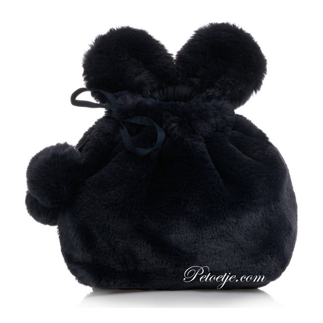 LAPIN HOUSE Navy Blue Faux Fur Backpack