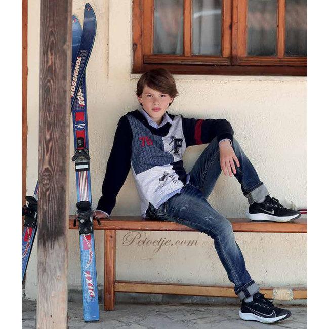 LAPIN HOUSE Boys Blue Sweater - Skiing