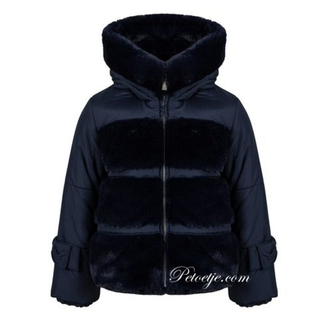 LAPIN HOUSE Navy Blue Padded Faux Fur Coat