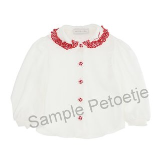 MONNALISA White Blouse with red collar