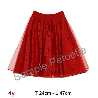 MONNALISA Red tulle skirt with sparklers